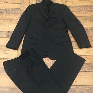 Geoffrey Beene Mens Black Suit Pinstriped 38R 32W